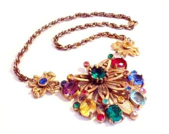 SALE Beautiful Victorian Art Nouveau Etruscan Open Black Multi Color Crystal Gold Tome Floral Antique Vintage Necklace
