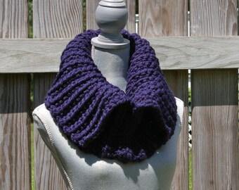 The Split Cowl in Navy Blue Chunky Crochet