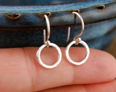 Small hammered circle earrings in sterling silver, hammered earrings, hammered ring, sterling silver ring