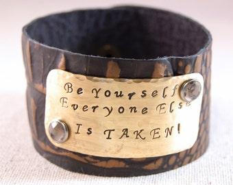 Personalized Leather Cuff, Leather Cuff Bracelet, Inspirational Leather Cuff Bracelet, Wide Cuff Bracelet, Wide Leather Cuff Bracelet
