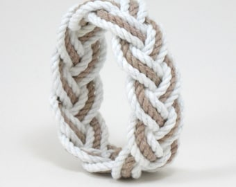 Sailor Knot Cotton Bangle Bracelet White and Tan