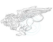 digital stamp fairy flying lion eagle grypphin gryphon griffin fantasy magic clipart crafts cardmaking supplies scrapbooking