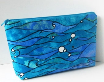 Make up Cosmetic Zipper Pouch, Blue Pacific Ocean