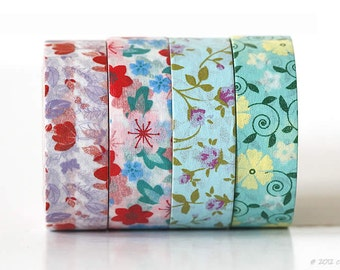 Floral Washi Tape Floral Tape Pretty Flower Washi Tape Flowers Blue Turquoise Red