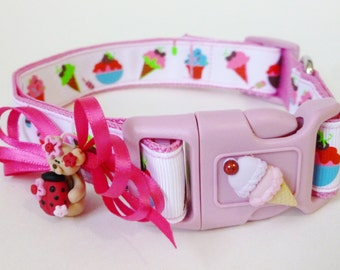 Dog Collar Ice Cream - Pink Dog Collar and Leash