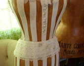 Vintage Inspired Dress Form Mannequin With Beaded  Belt  and Vintage Lace FREE SHIP