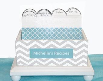 Recipe Box Open Personalized Chevron Teal & Gray 4 x 6