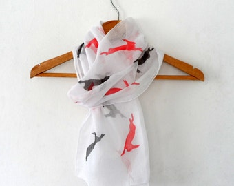 Red Black Rabbit Scarf ,   hand stamped cotton skinny scarf, easter fashion