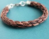 Mens Leather Bracelet, Brown Woven Leather Bracelet, Sterling Silver Clasp