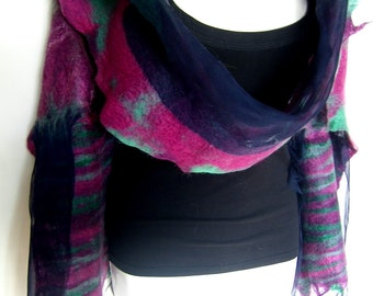 Nuno Felted Scarf, Magenta Fuchsia Emerald Green Black, Silk Wool Felted Scarf