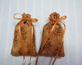 Brown Sachet-'Pineapple Orange' Fragrance-Tan Sachet for Men-Father's Day Sachets-Cotton Fabric Herbal Sachet-Gold Ribbon-Cindy's Loft