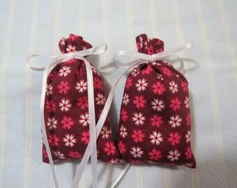 Valentine Brown Sachet-'Butt Naked' Fragrance or Choice of Fragrances-Pink/White Sachet-White Ribbon-Cotton Floral Sachet-Cindy's Loft