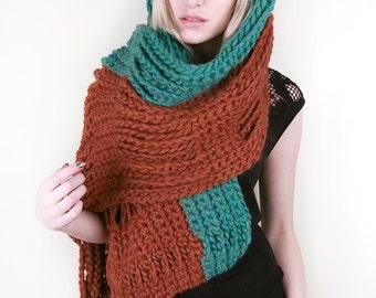 Lulu's Aztec Wrap in Blue-Green & Pumpkin Spice 100% Ultra-Soft Wool (Choose your colors!)