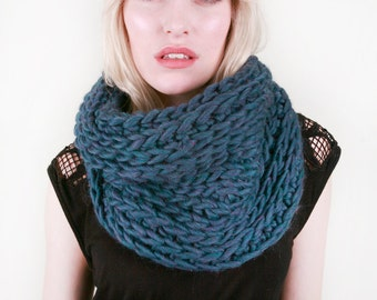 Layla's Snuggly Cowl in Lapis Blue Heather 100% Ultra-Soft Wool (Choose your color!)