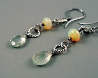 Opal Earrings, Moss Aquamarine and Ethiopian Opal Rondelles,Oxidized Sterling Silver, Long Dangle Opal Earrings
