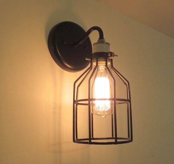 industrial wall light sconce with edison bulb. Black Bedroom Furniture Sets. Home Design Ideas