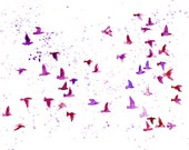 flock birds in purple/violet -Watercolor-bird painting-Archival Print from my original watercolor painting 10x8 inch