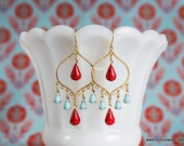 Turquoise Red Earrings Gold Chandelier Bollywood by MinouBazaar