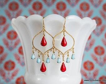 Turquoise Red Earrings Gold Chandelier Bollywood by MinouBazaar
