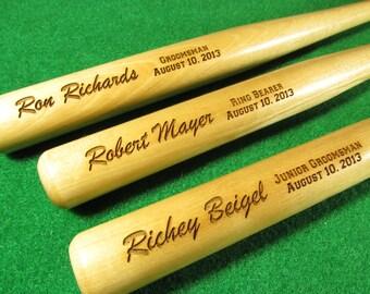 Personalized Engraved Mini Wood Baseball Bat, Ring Bearer Gift, Groomsman Gift, Groomsmen Gifts, Wedding Gift Keepsake, Brush Font