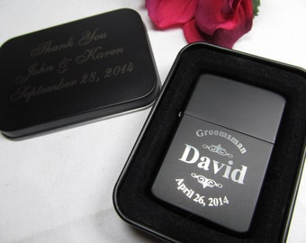 5 - Personalized Custom Lighters with Engraved Tin - Groomsman Groomsmen Best Man Gift Lighter, Cigar Lighter, Flip Top Lighter