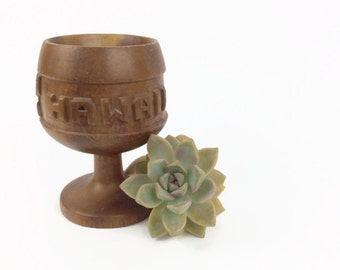 Tiki party drink glass monkey pod wood Hawaii souvenir cup