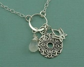 Mandala Charm Necklace - sterling silver pendant charm - moonstone jewelry - gift