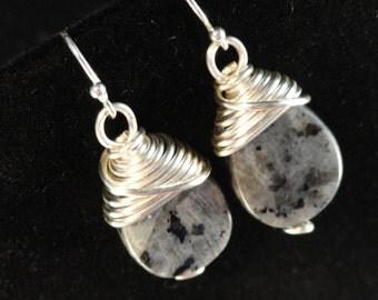 Labradorite Teardrops, Silver Wire Wrapped Earrings