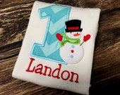 Snowman Birthday Shirt FREE Personalization, Girls or Boys, Winter Wonderland party