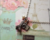 Paris Necklace with Eiffel Tower and Camera Charms plus Freshwater Pearl - Sightseeing In Paris