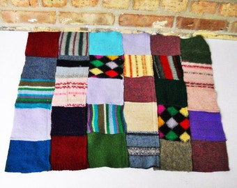 Felted Patchwork Quilt made from recycled sweaters