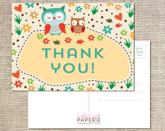Thank you postcards to match your cute woodland owl party