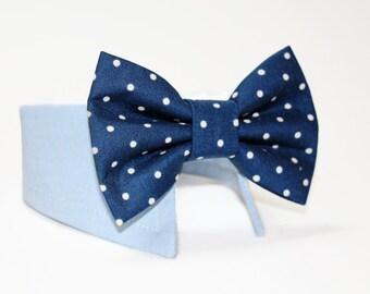 Dog Bow Tie- Shirt and Bow Tie Collar-  Wedding Dog Bow Tie-  Navy Polka Dot