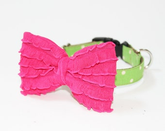 Christmas Dog Collar- Bow Girl Dog Collar- Polka Dot Collar- More Colors Available