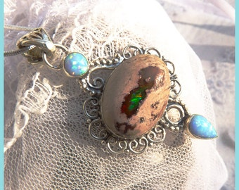 Opal Combination Ethiopian and Mexican Opals- Sterling Silver Necklace  N 9001