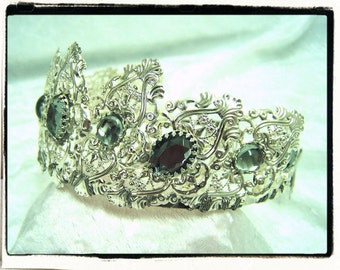 London Fog Aurora Silver Finish Filigree Tiara Crown Tudor Renaissance Medieval Game of Thrones