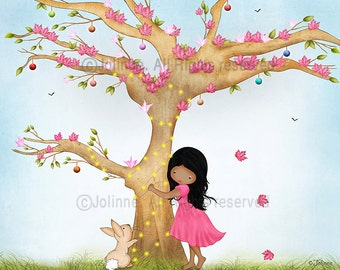 African american girl wall art, kids room art, poster, pink nursery decor