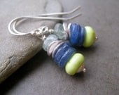 Gemstone Sterling Earrings,  Kyanite blue  Earrings, Colorful Fun , Summer earrings, blue and green gemstone  stack,