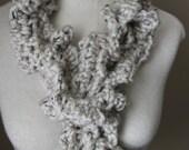 Crochet Twirl Scarf in Oatmeal color