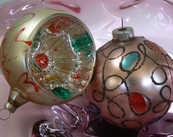 2 Mid Century West Germany Shiny Brite and Concave Glass Christmas Ornaments Bulbs