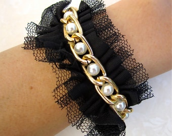 Bridesmaid Bracelet Cuff With Pearls, Netting, Pearls, and Gold Chain - Choose Your Color - Petal Pink, Black, Eggshell White, or Ivory