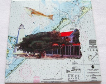 NOAA Ocracoke Portsmouth Island Chart tile trivet marlin Lighthouse Spoon rest pearl of the Outer Banks