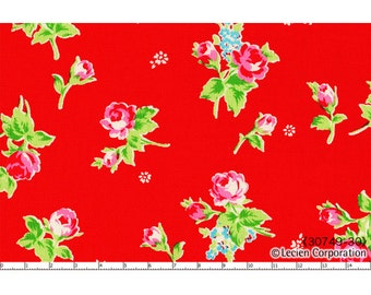 Lecien Flower Sugar 2013 Fabric 49-30 Medium Sized Single and Pair Floral Flower Rose Roses on Red
