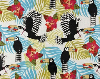 Jungle Fever Collection Lonely Toucan Fabric by Luella Doss Laminated Laminate Vinyl Tablecloth Raincoat
