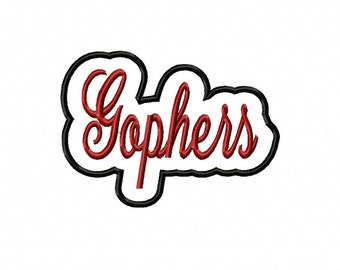 Gophers Script with a Shadow Embroidery Machine Applique Design 4038