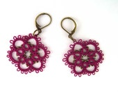 Tatted Lace Earrings, Tatting Jewelry, Victorian Lace Earrings, Floral Earrings, Tatted Lace Jewelry, Leverback Earrings, Ready to Ship