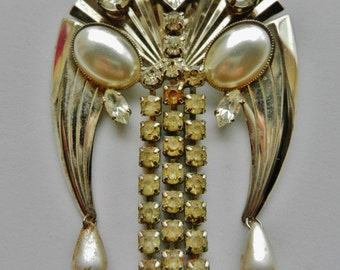 Great Liberty brooch, silver, crystal and pearl - vintage 1960 Italy - exquisite design   -Art.690/2 -