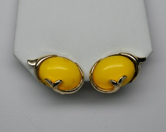 Vintage CORO (Pegasus) Bright Yellow Lucite Screw Back Earrings