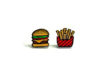 Lil' Burger & Fries, Mismatch Stud Earrings