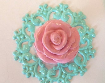 Pink Rose Knob Pull Aqua Backplate Trimplate